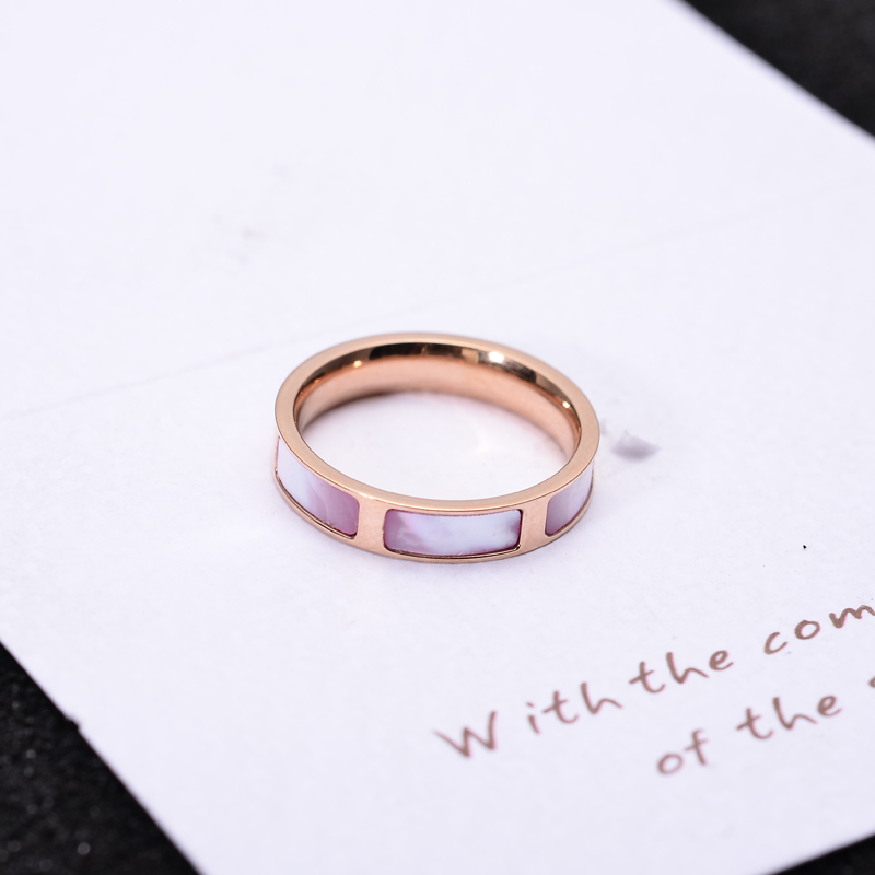 YUN RUO New Arrival Rose Gold Color Elegant Pink Shell Ring For Woman Gift Party Stainless Steel Jewelry Top Quality Never Fade