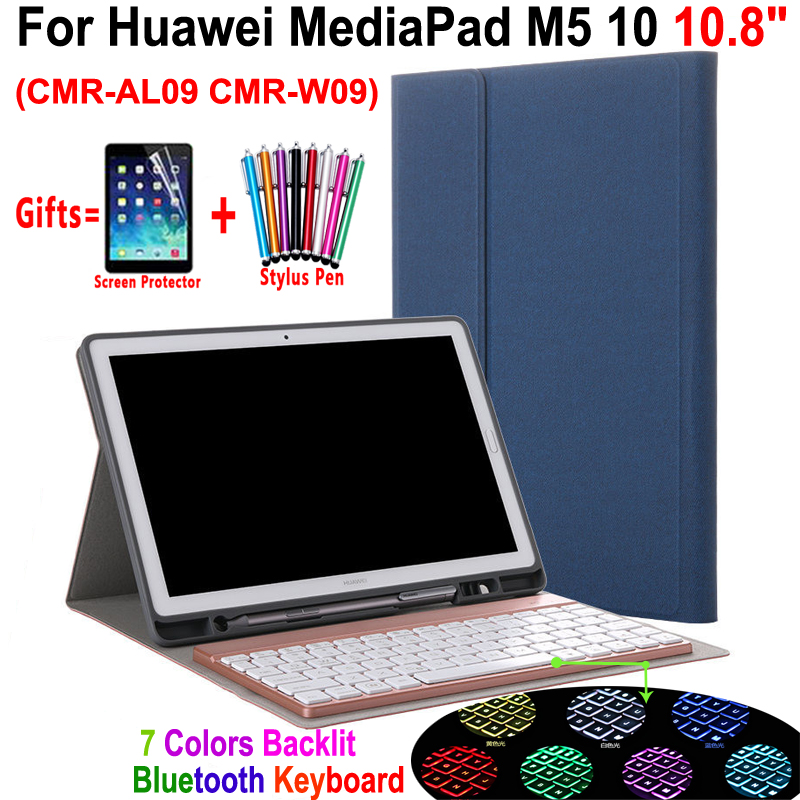 7 Colors Backlit Removable Bluetooth Keyboard Leather Smart Cover Pencil Case For Huawei Mediapad M5 10 10.8 Inch Coque Funda