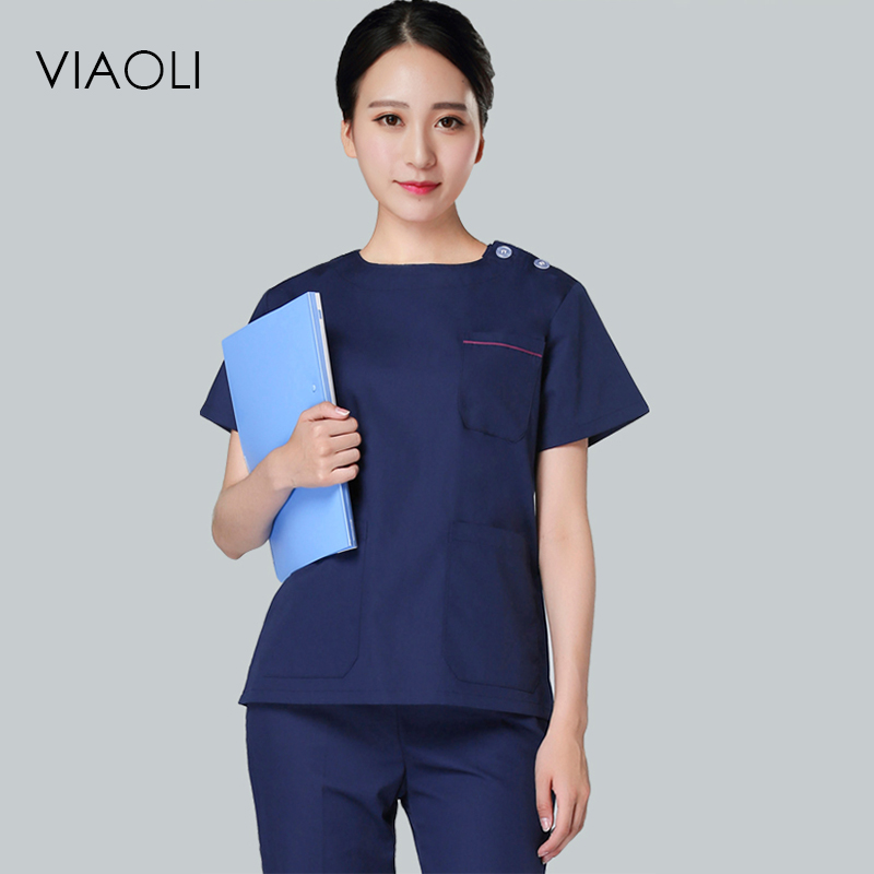 Viaoli 2018 New Short Sleeve Cotton Surgical Suit Set Male and female doctors wear surgical suits in 14 colors ai lianxin new women doctors and nurses surgical caps hat cotton cap and short hair with sweatbands alx 114