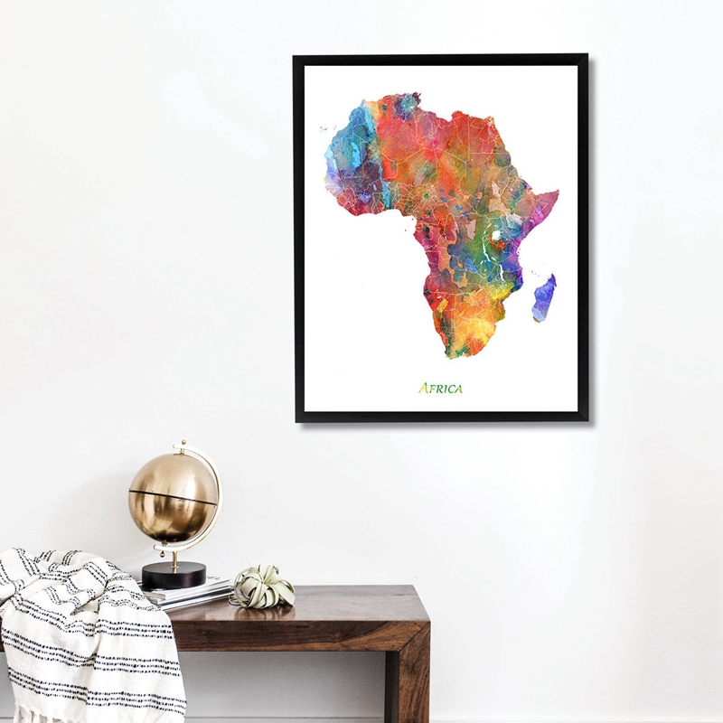 Africa Map Print Living Room Decor