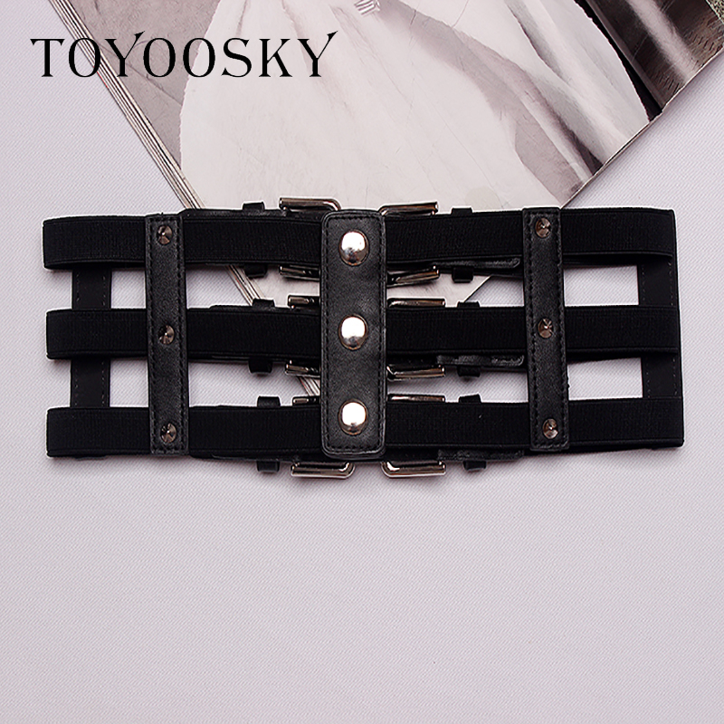 2019 New Arrival PU Fashion Belts for Women Hollowing out Three Pin Buckle Belt Elastic High waist Lady Belt for Skirt TOYOOSKY in Women 39 s Belts from Apparel Accessories