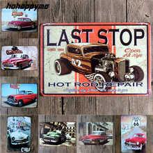 Hot Rods Tin Sign Garage Vintage Metal Motel Furniture Decorative Car  Plates Home Decor Metal Painting