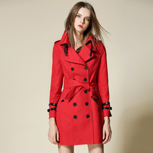 red Gothic coat duster trench mujer 2017 winter women's trench coat women plus size long trench coat Double-breasted
