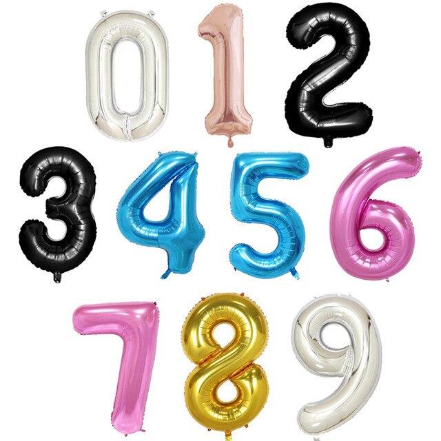 40 cal rose złoto srebro różowy niebieski czarny big size numer folia balony z helem urodzinowe uroczystości dekoracji duża globos