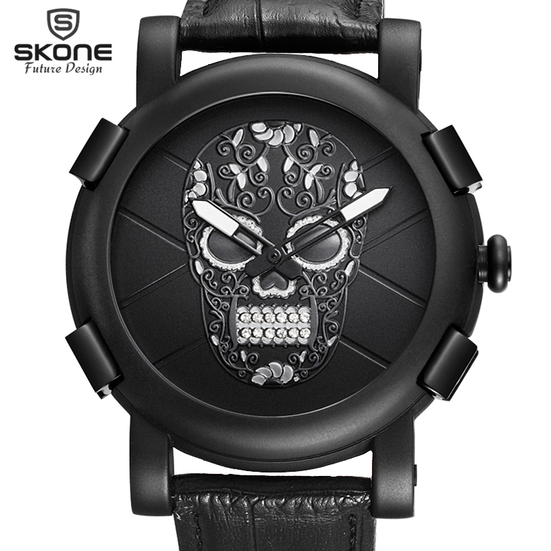 SKONE Genuine Pirate Skull Style Quartz Men Watches Brand Men Military Leather Men Sports Watch Waterproof Relogio Masculino skone genuine pirate skull style quartz men watches brand men military leather men sports watch waterproof relogio masculino