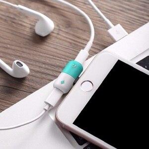 Adaptador divisor de dos puertos para iPhone X XS Max XR 10 8 7 Plus 8 Pin auriculares Jack Cable adaptador de carga accesorios de teléfono