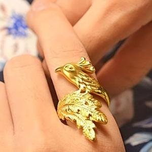 Unique 18 Carat Gold Ring Phoenix Rings Personality Gold Animal Ring Women's Fashion Jewelry Gift(China)