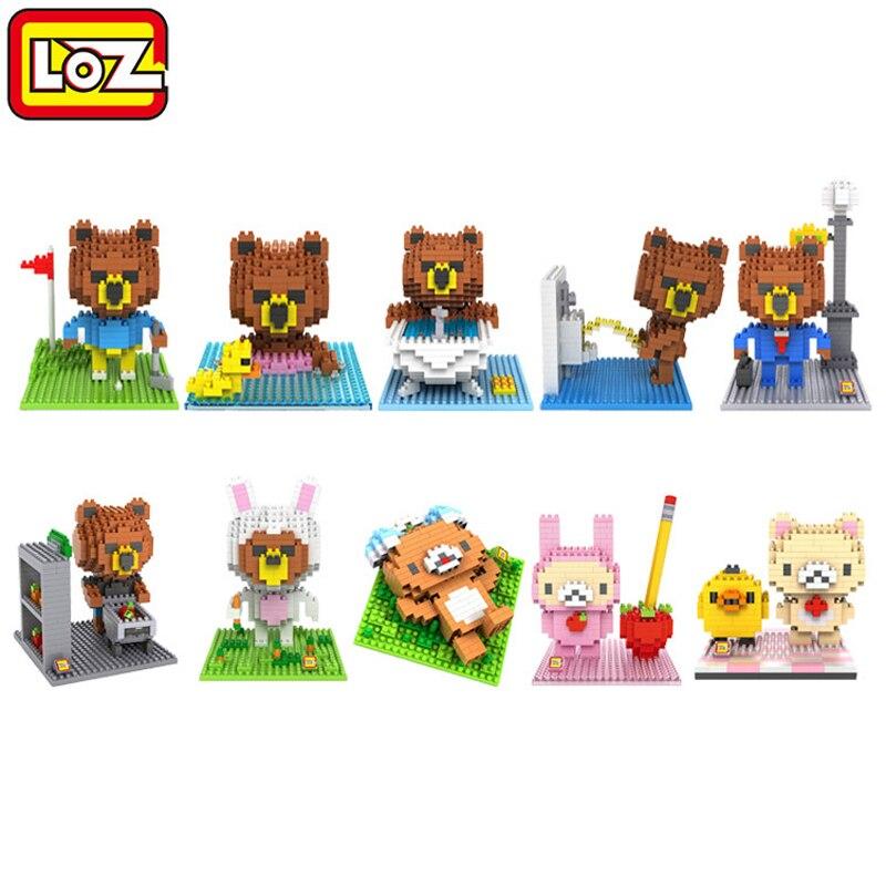 loz блоки строительные блоки милый мультфильм линия медведь коричневый алмаз нано блоки пластиковые игрушки кирпичи детские игрушки развивающие подарки