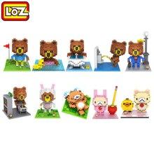 loz blocks building blocks cute cartoon line bear brown diamond nano blocks plastic toy bricks kids toys educational gift