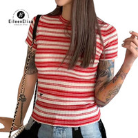Red Striped T Shirt For Women Fashion 2019 Summer Clothing Female T shirts Casual Ladies Knitted Tee