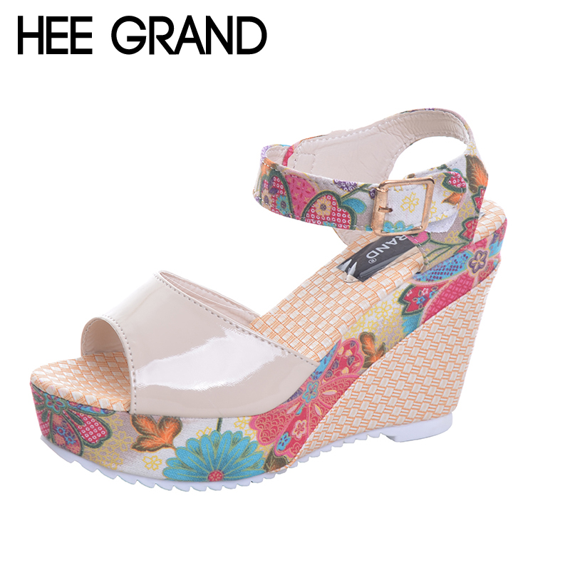 HEE GRAND Florral Print Wedges Heel Sandals Summer Shoes Woman Buckle Strap Platform San ...