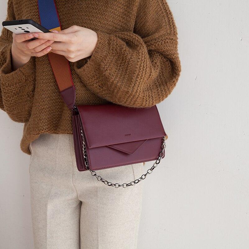 VENOF fashion split leather shoulder bags for women solid bags elegance female crossbody bags leather messenger