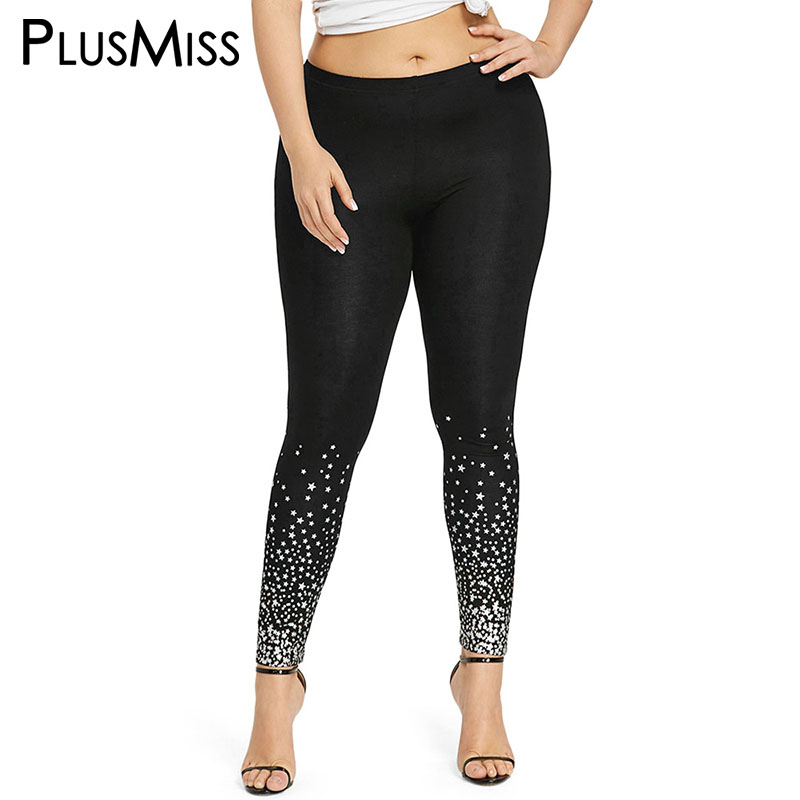 PlusMiss Plus Size 5XL Summer Stars Printed   Leggings   Fitness Stretch Leggins Capri High Waist Sexy Skinny Legins 2018 Big Size