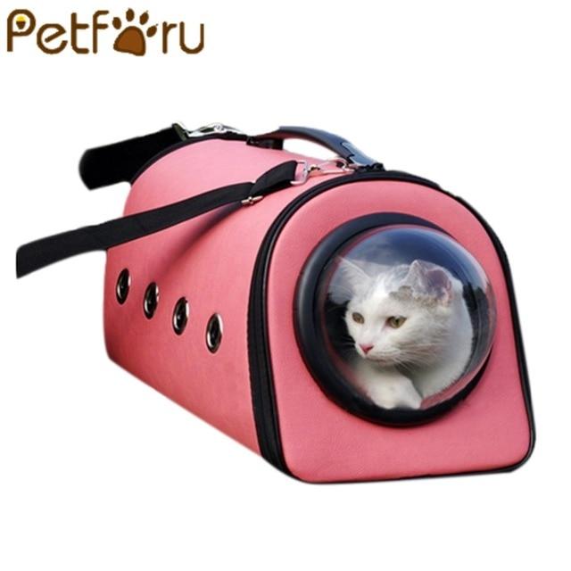 petforu pu leather dog cat carrier breathable small pet travel shoulder bag