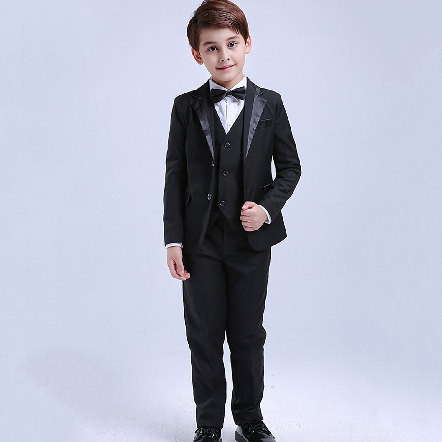 7 Pcs Toddler /& Boy Suits Formal Tuxedo Shirt Vest Wedding Party Suit Black