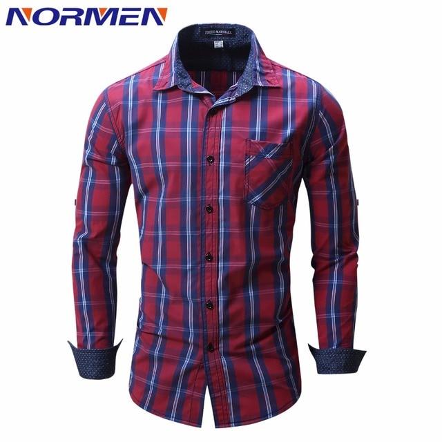 NORMEN Marca hombres Moda Plaid Camisas de La Manga Completa Camisa Casual Hombres chemise homme camisa masculina Camisas de Esmoquin de Grado Superior
