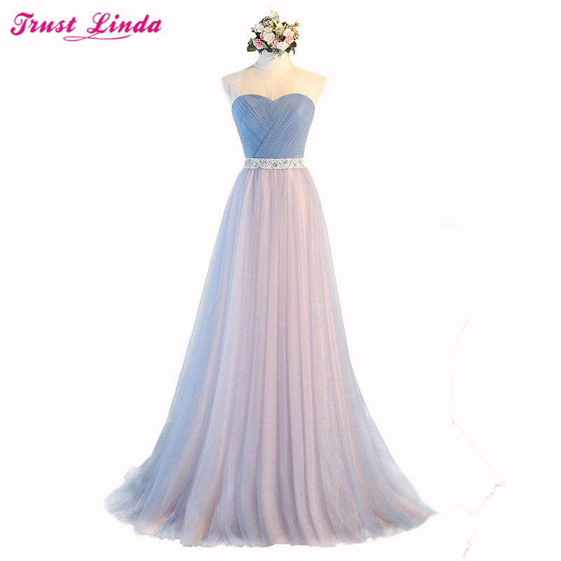 New Style Real sample charming   bridesmaid     dresses   2018 A-line lace up beading crystal prom   dresses   sashes Bridal party gowns