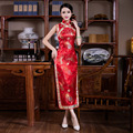 Red Chinese Traditional Dress Women Silk Cheongsam Long Qipao Vintage Slim Oriental Dresses  Robe Chinoise Party Evening Dress