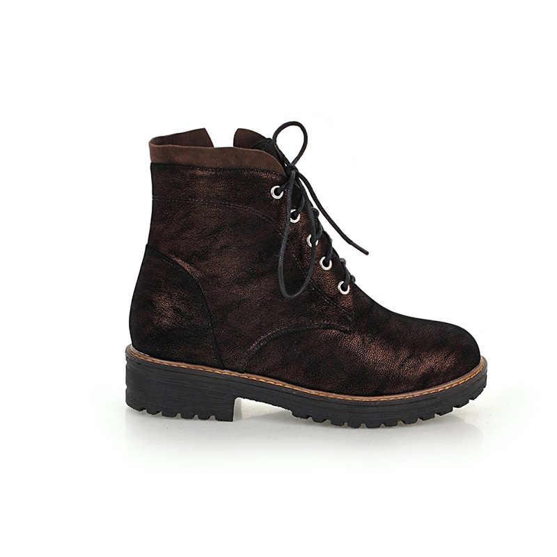 WETKISS Sonbahar Kadın yarım çizmeler Yuvarlak Ayak Ayakkabı Yeni platform ayakkabılar Kadınlar 2018 Kalın Topuklu Bayan Ayakkabı Askeri Kadın Çizme