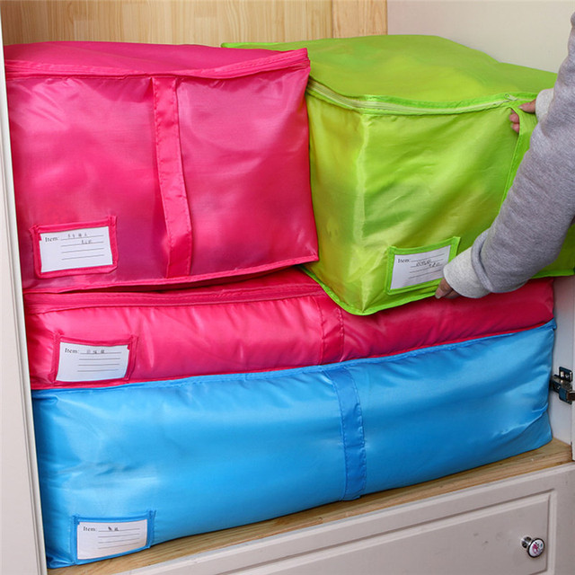 Blue/Red Delicate Bedding Storage Box Portable Organizer Non Woven Clothing  Pouch Holder Blanket Pillow