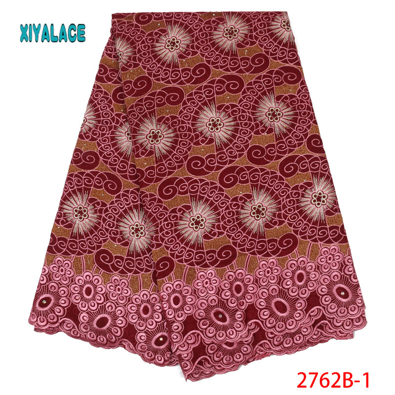 African Dry Lace Fabric Swiss Voile With Stones Swiss Cotton Lace High Quality 2019 White Lace Fabrics For Wedding YA2762B-1