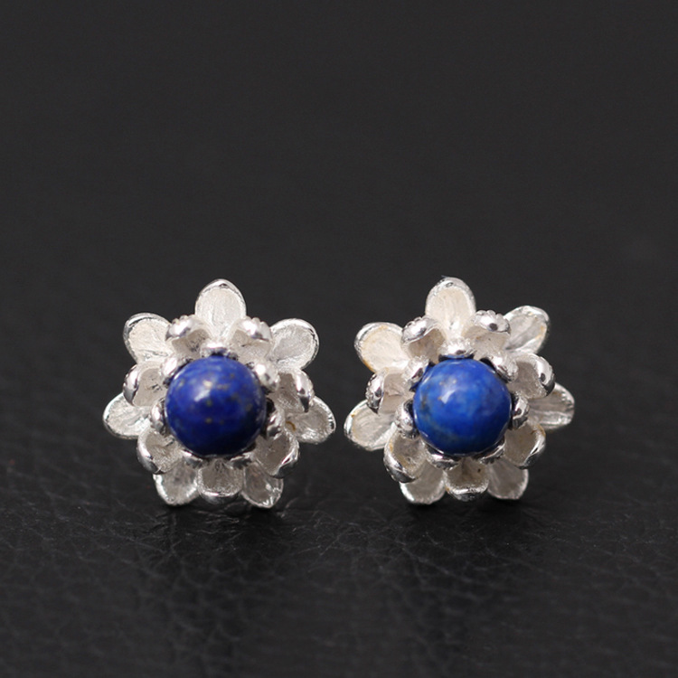 925 Sterling Silver Lapis Lazuli Lotus Flowers Stud Earrings For Women Elegant Lady Prevent Allergy Sterling-silver-jewelry