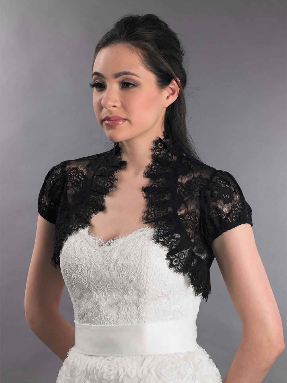 Popular lace bolero jackets for evening dresses buy cheap for Black lace jacket for wedding dress
