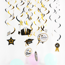 30pcs/set Graduation Hing Swirl Party Decoration Congrats Grad Decor Prom Night for 2019 Gold Black PVC Photo Supplies