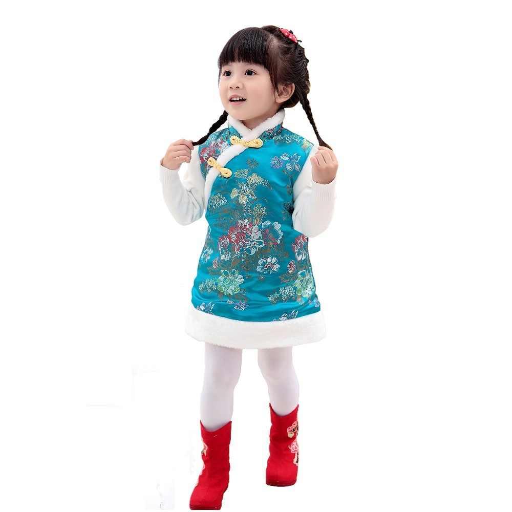 赤ちゃん女の子のドレスキルティングウォーマーベストチョッキ女の子ダウンジャケットカイpaoドレス子供チャイナ袍上着ノースリーブ