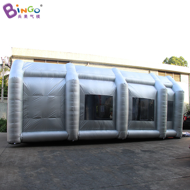 все цены на Silver color Inflatable paint spray booth with filters Hot sale 9.2X5.8X3.7 Meters blow up spray paint tent toy tents онлайн