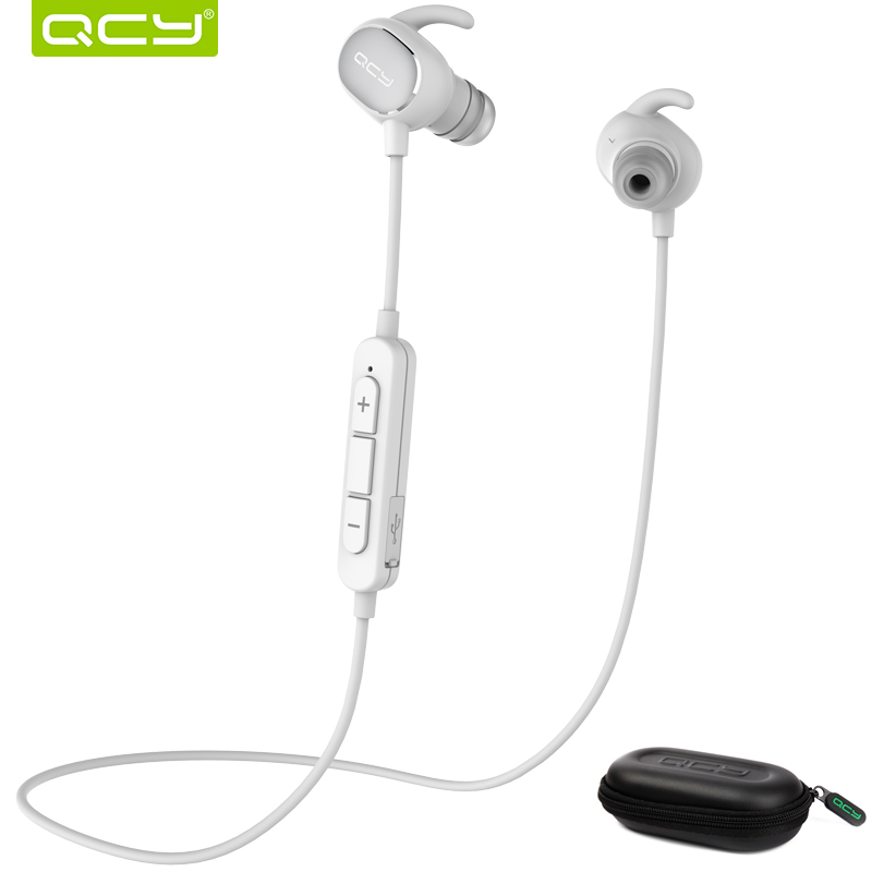 QCY QY19 Sports Bluetooth earphone fast charge stereo wireless headset with mic and portable storage box for Iphone,Xiaomi