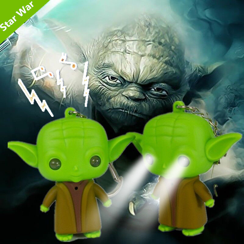 Hot Sale 3D Keychains Star Wars Anime Keychain With Sound & Led Flashlight Key Ring Action Figure Toy Gifts