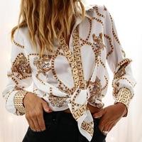 2019 для женщин элегантные модные для отдыха OL работы блузка женская летняя регулярные цепи печати с длинным рукавом Повседневная рубашк