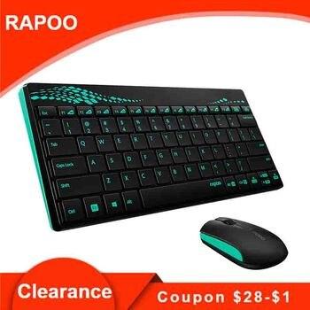 Original Rapoo 8000 Drahtlose 2,4 GHz Multimedia Optische Maus und Tastatur Combo mit Media Heißer Schlüssel Volle-größe Büro tastatur