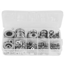 580pcs Stainless Steel Washer M2/M2.5/M3/M4/M5/M6/M8/M10/M12 Screw Nut Flat Gasket Flat Ring Gasket Sump Plug Oil Seal Fittings