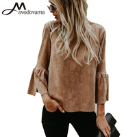 Avodovama M Women Long Sleeve Blouses New Fashion High Street O Neck Flare Sleeve Casual Tops