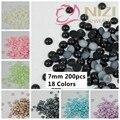 Pérolas Redondas metade $0.99 200 pcs 7mm Muitas Cores Natator Cola Na Resina Rodada Beads Apliques Para Artesanato Vestido de casamento Decorações