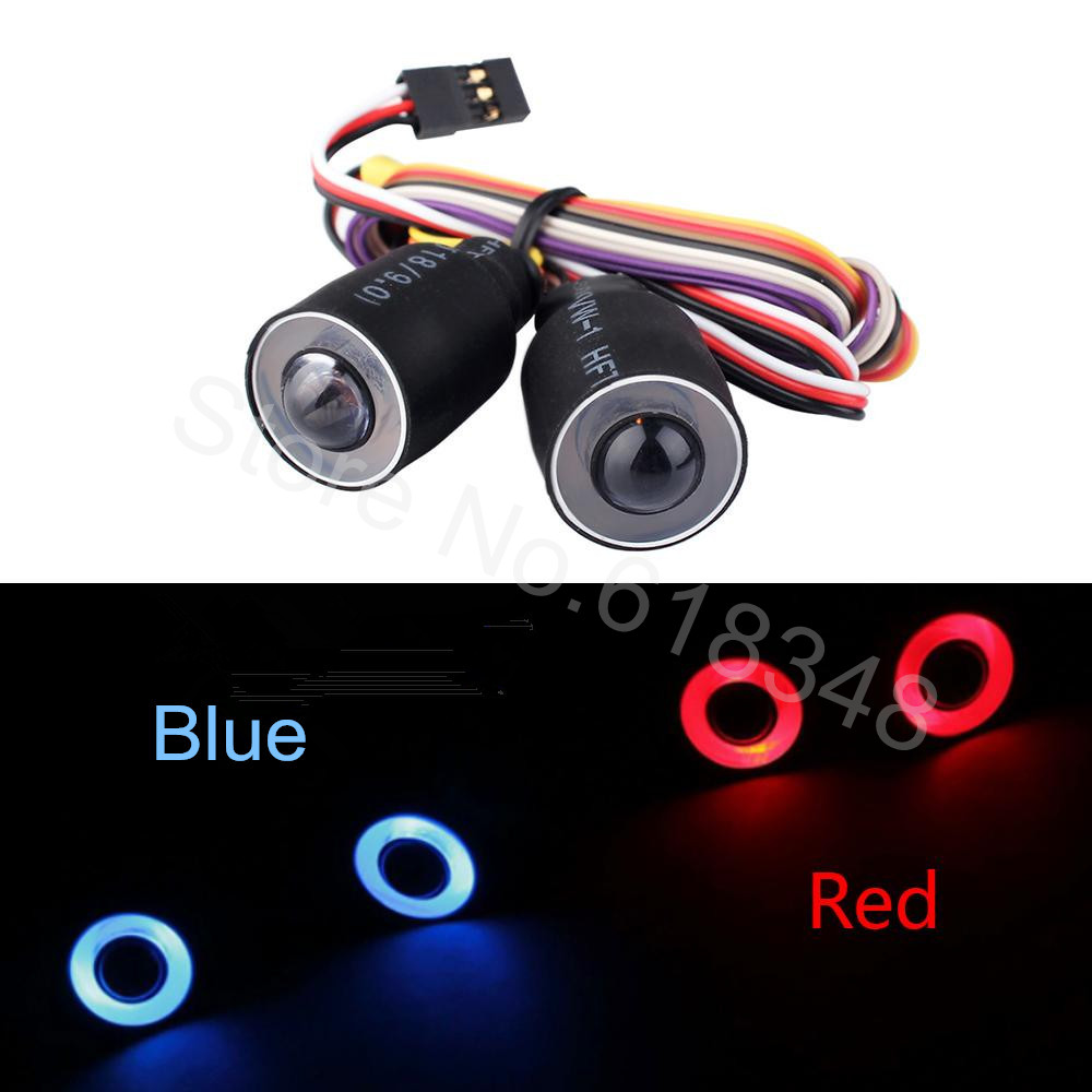 LED Headlight Lights Angel Eyes & Demon Red/Blue for 1/10 RC Rock Crawler Axial SCX10 RC4WD D90 Jeep Wrangler Rubicon Body Shell led headlight lights angel eyes