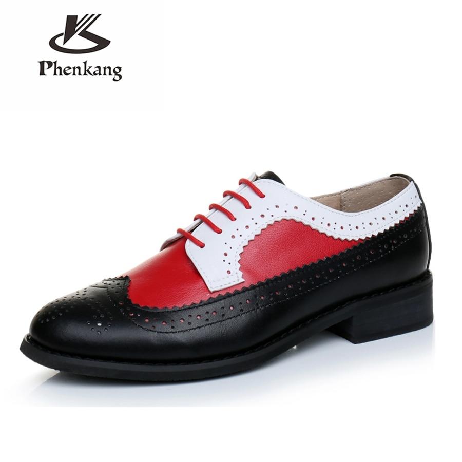 Echte koe lederen brogue mannen casual flats schoenen handgemaakte vintage casual sneakers schoenen oxford schoenen voor mannen rood zwart wit-in Oxfords van Schoenen op  Groep 3