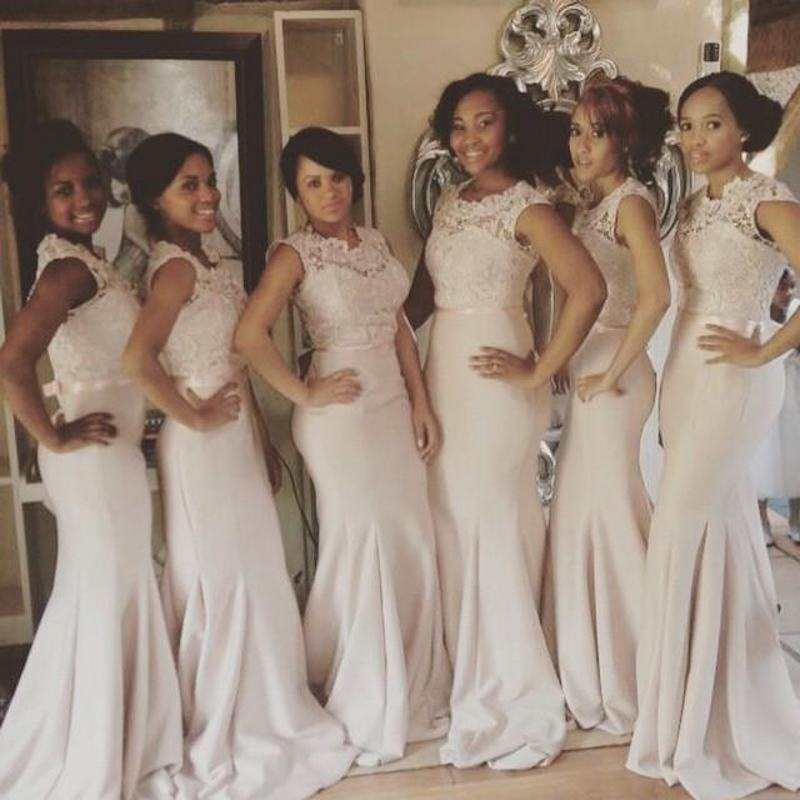 Pretty Africa Fashion Lace   Bridesmaid     Dresses   Sleeveless Ruched Sheath Formal Prom Gowns 2017 Maid Of Honor   Dress