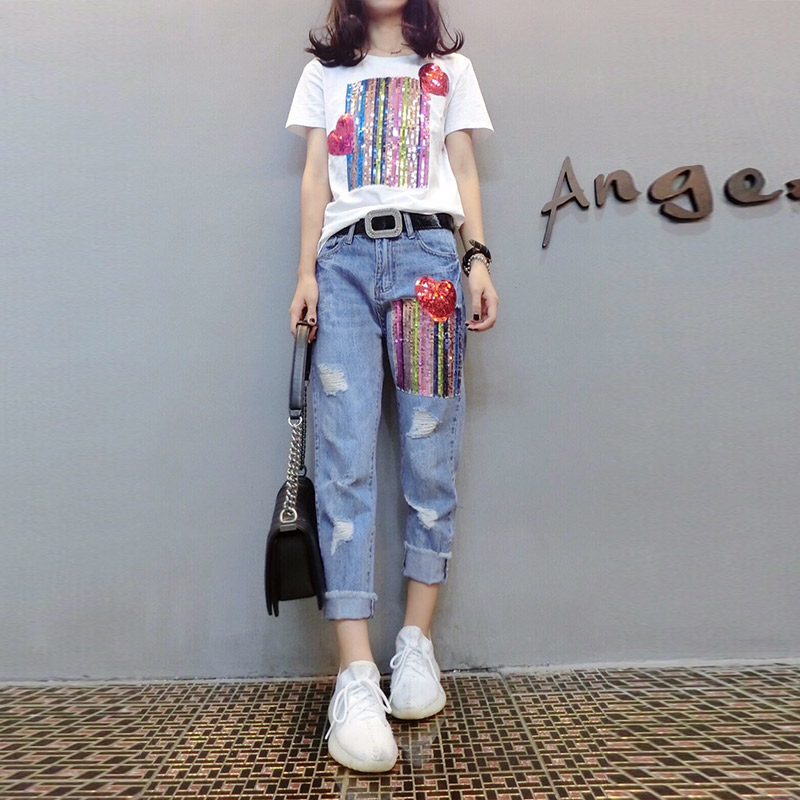 Summer Two Piece Sets Women Plus Size Short Sleeve Sequins Tshirts And Denim Ripped Jeans Sets Suits Casual Women's Sets M-5xl 26