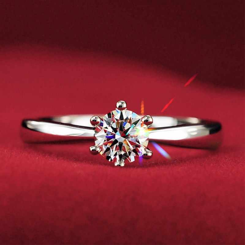 2018New large simulated Crystal Rings For Women Sliver Color Engagement 4RD234