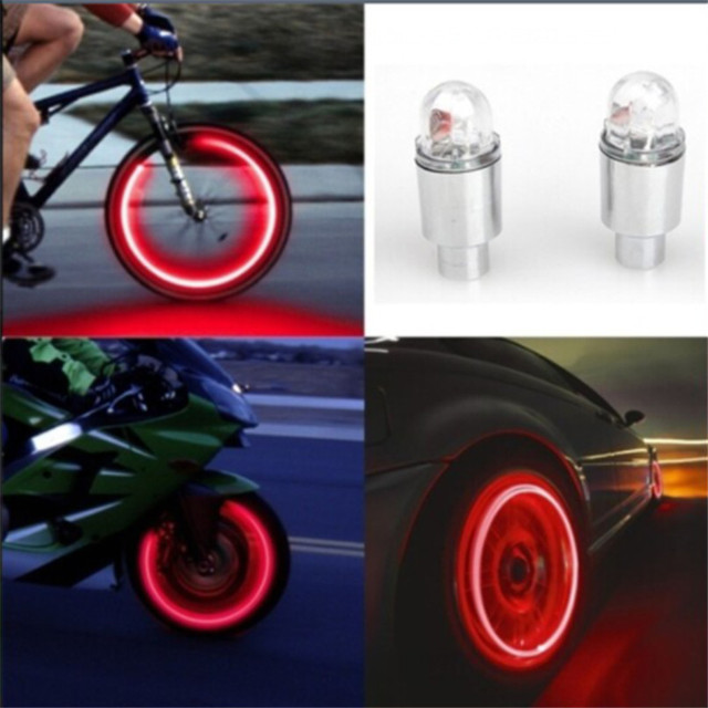 New arrival 2017 Auto Accessories Bike Supplies Neon Blue Strobe LED Tire Valve Caps-2PC ciclismo lights