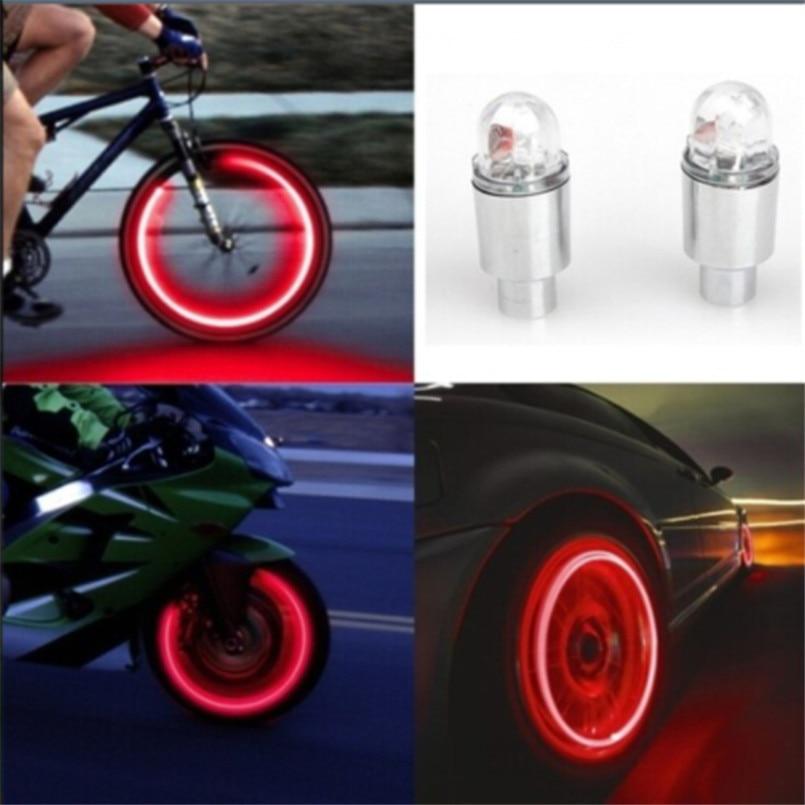 2Pcs GST Car Bike Bicycle Motorbicycle LED Automatic Tyre Wheel Tire Valve Cap Light Decorative Flashing Colorful LED Tire Light