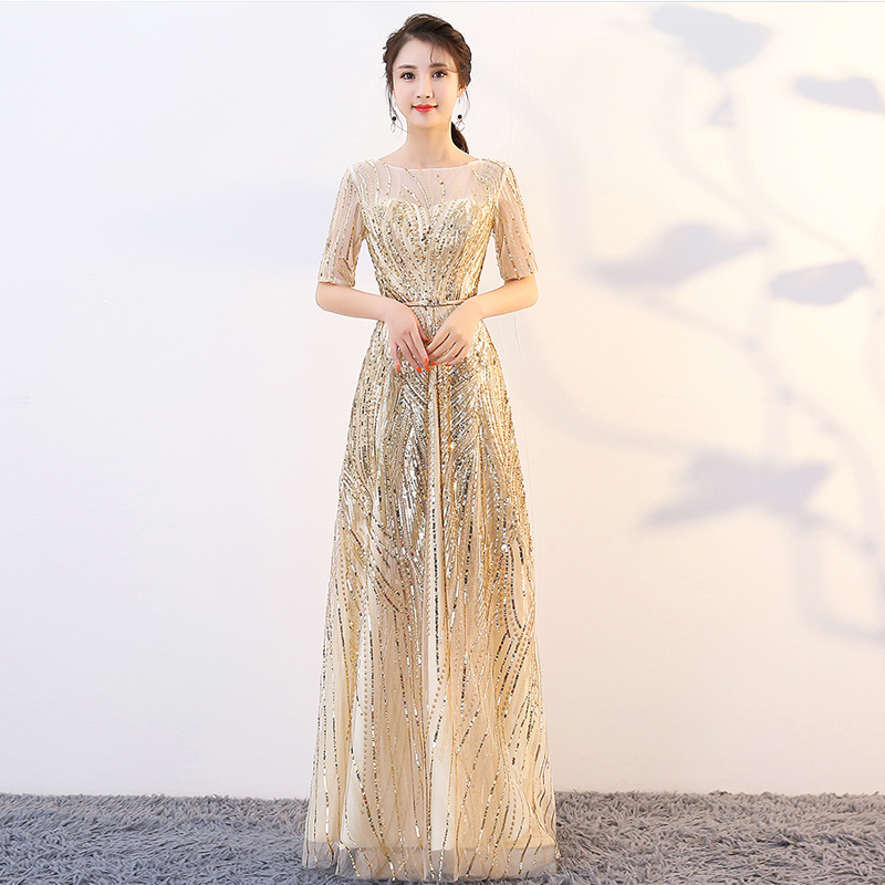 2019 New O-neck Golden Zipper Back Sequins Party Formal Dress Half Sleeve Beads Sexy Long Evening Dresses