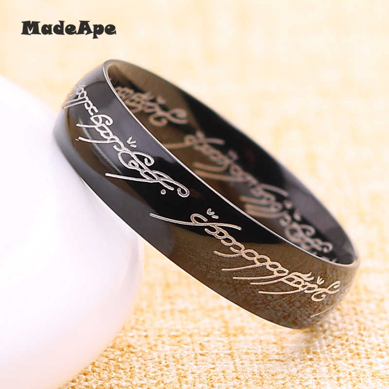 MadApe คลาสสิก 316L สแตนเลส Hobbit หนึ่งแหวน Power Gold Lord of the Rings Lovers ผู้หญิงผู้ชายแฟชั่นเครื่องประดับ