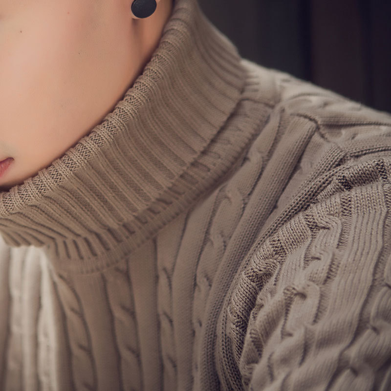 Sweater Man Turtle Neck Sweater Pure Color Thermal Long Sleeve Sweaters Youth Cultivate One's Morality Men's Sweater