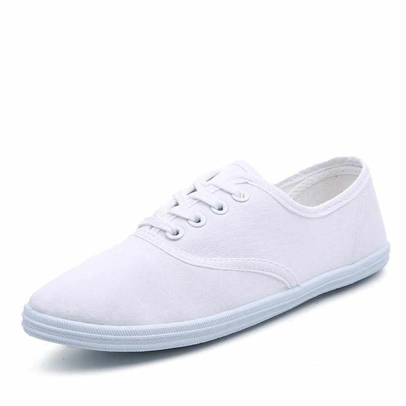 Kadın kanvas ayakkabılar dantel Up rahat ayakkabılar kadın Flats beyaz ayakkabı şeker renk nefes ayakkabı bayanlar Espadrilles büyük boy 35-42
