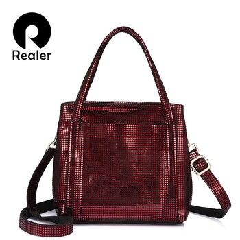 REALER сумки женские сумочки из натуральной кожи ,сумка женская через плечо, Сумка-мессенджер дамские сумка хобо