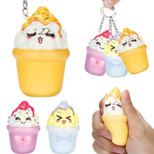 Kawaii Squishies Ice Cream Squishy Slow Rising Squeeze Toys Cream Scented Keychain Stress Relief Antistress Toys For Children(China)